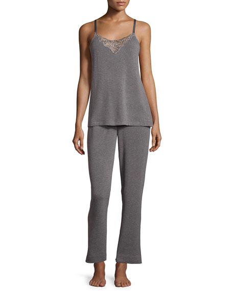 Oscar de la Renta Signature Lace-Inset Pajama Set