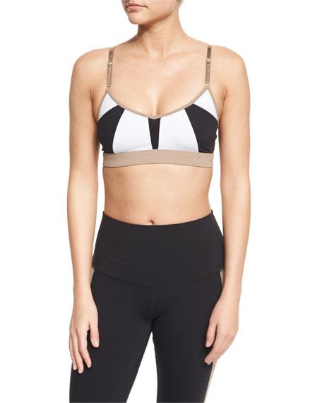 Alo Yoga Trace 2 Colorblock Sports Bra, White/Black/Gravel
