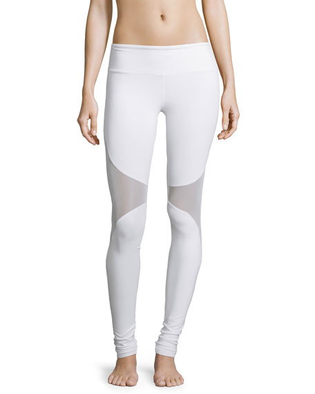 Alo Yoga Coast Mesh-Panel Sport Leggings, White