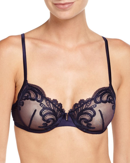 Windflower Mesh Underwire Bra, Dark Blue