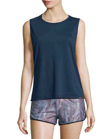 Koral Activewear Aura Strappy-Back Performance Tank, Midnight