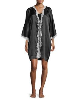 3/4-Sleeve Lace-Trim Short Robe, Black