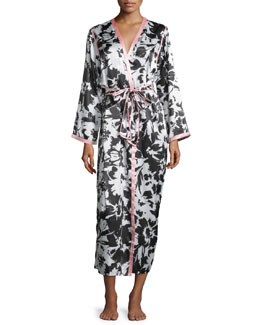 Long-Sleeve Belted Long Robe, Black/Ivory Spring
