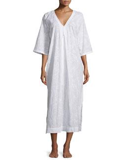Half-Sleeve Zip-Front Caftan, White