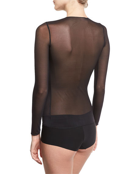 Technical Mesh Long-Sleeve Top, Black