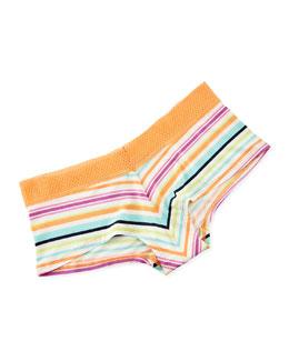 Mesh-Lace Fashion Girl Shorts, Surf Stripe