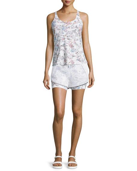 Inca Double-Layer Drawstring Shorts, White Peru Print