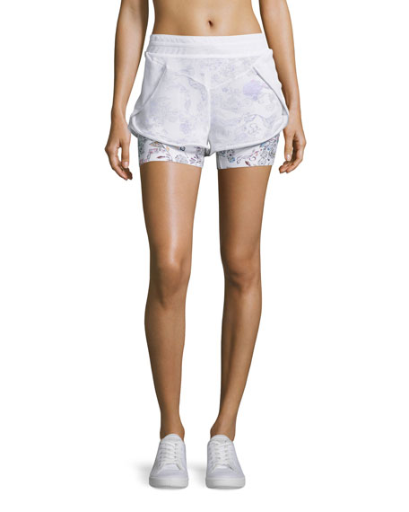 Inca Double-Layer Drawstring Shorts, White Peru Print