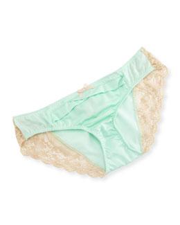 Juliette Pleated-Front Bikini Briefs W/Lace Sides, Honeydew