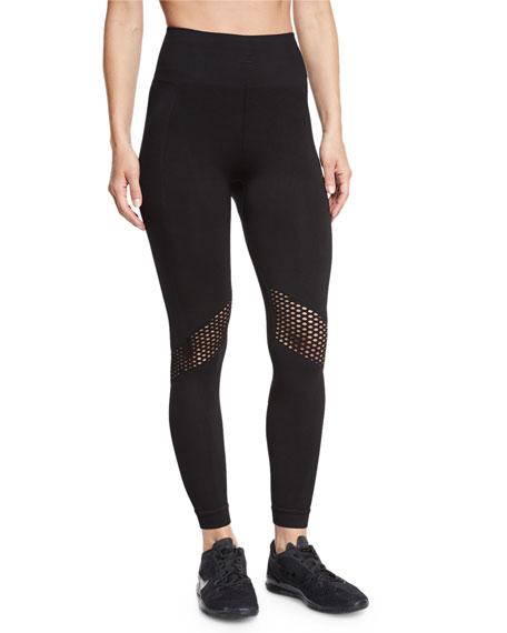 Seamless Mesh-Panel Athletic Leggings, Black