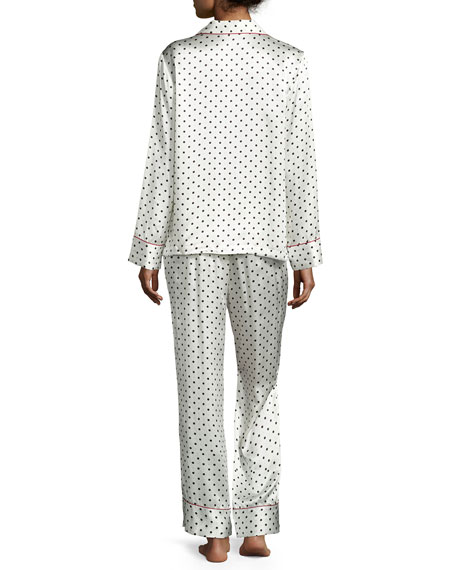 NM INTIMATES Polka Dot-Print Silk Pajama Set, Red/White