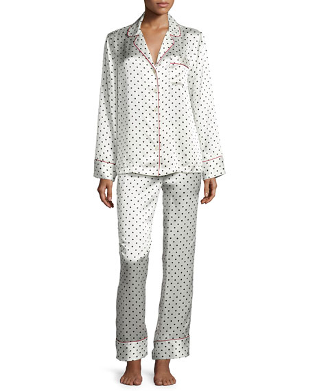 Polka Dot-Print Silk Pajama Set, Red/White