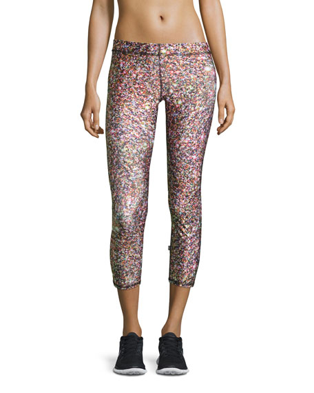 Terez Confetti Glitter Capri Performance Leggings