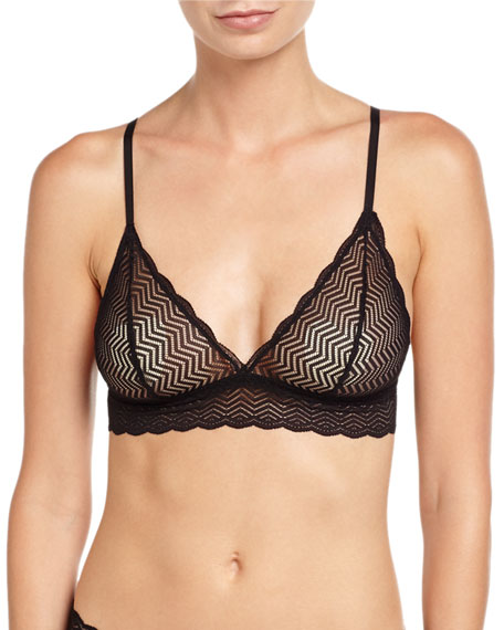 Cosabella Sweet Treats Geometric Lace Soft Bra, Black