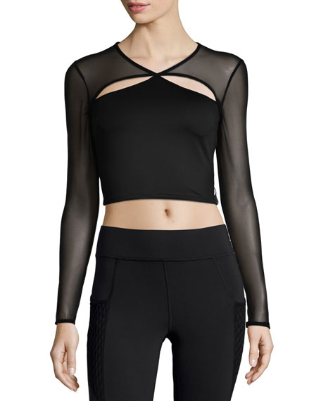Pistol Cutout Mesh-Sleeve Sports Crop Top, Black
