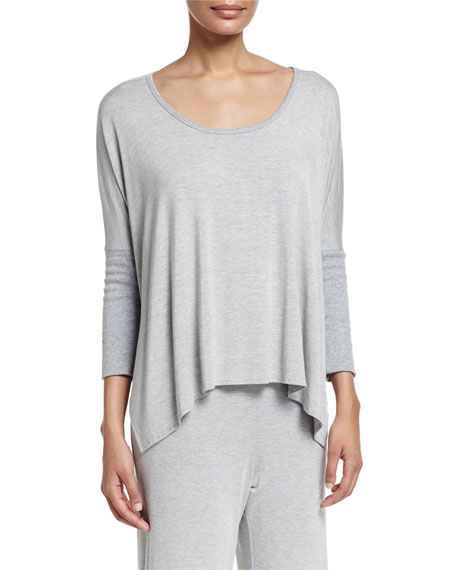 Pima Modal Pullover Lounge Top, Heather Gray