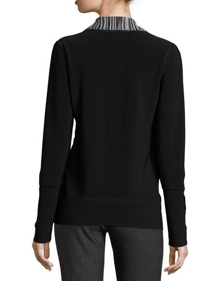 Printed Turtleneck Zip-Front Jacket, Fringe Online Cheap