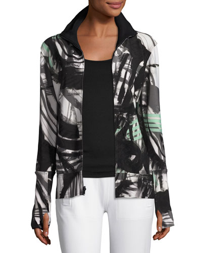 Printed Turtleneck Zip-Front Jacket, Graffiti