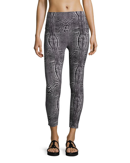 Printed Stretch Yoga Leggings, Illusion