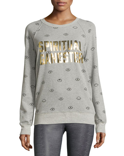 Metallic-Logo Evil Eye Sweatshirt, Heather Gray