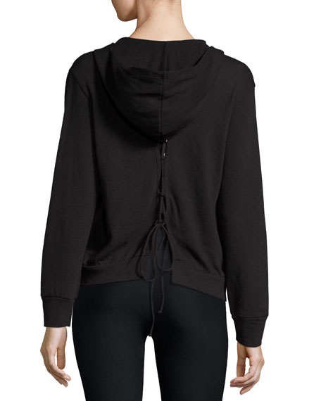 Lace-Up Back Hoodie, Black Best Reviews