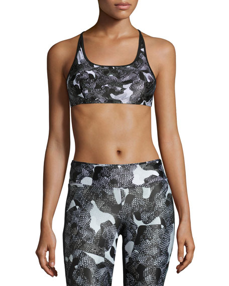 Beta Strappy Versatility Sports Bra, Snake Camo/Black