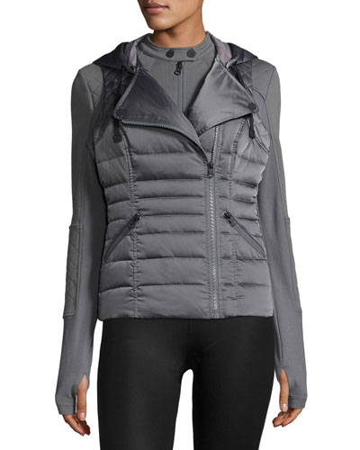 3-in-1 Satin Packable Moto Jacket & Vest, Charcoal