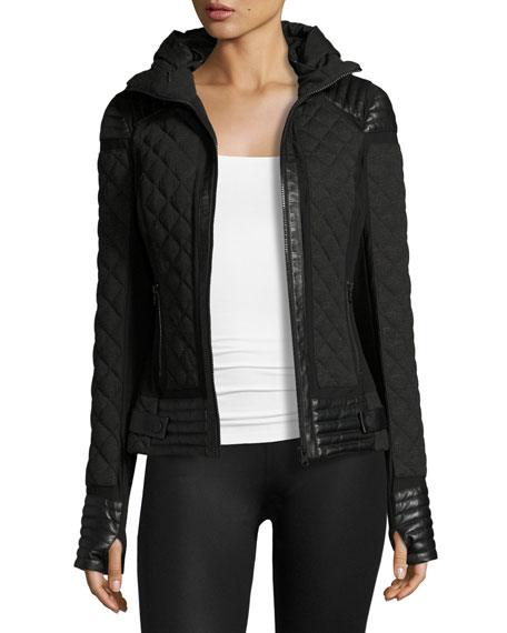 Blanc Noir Leather-Trim Quilted Moto Puffer Jacket, Charcoal