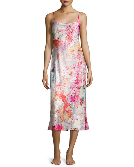 Autumn Long Satin Chemise, Multicolor