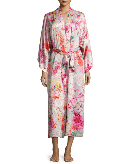 Natori Autumn Satin Lounge Long Robe, Multicolor