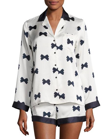 bow tie short pajama set, cream