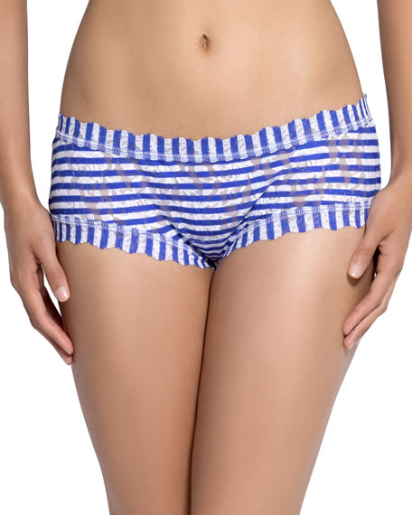 Hanky Panky Breton Stripe-Print Boyshorts, Blue/White