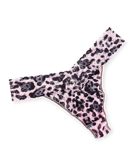 Hanky Panky Original Rise Pretty Leopard Thong, Pink/Black