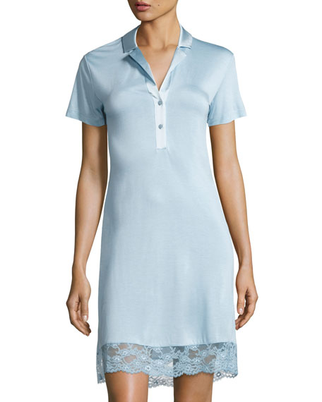 La Perla Airy Blooms Lace-Trim Sleepshirt