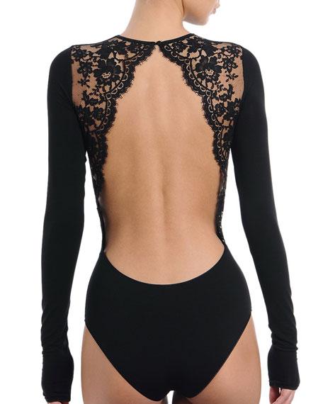 Enigma Long-Sleeve Bodysuit, Black