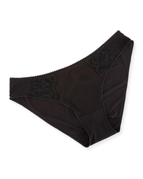Roxane Mesh-Inset Bikini Briefs, Black