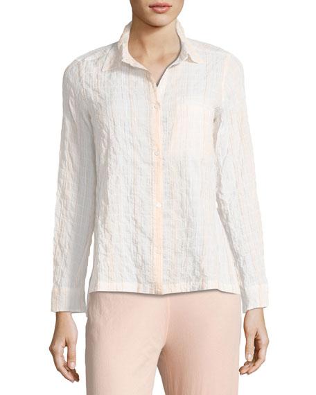 Skin Stripe-Print Lounge Shirt, Pina Colada