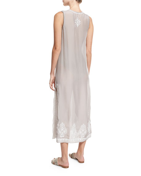 Floral Sleeveless Embroidered Silk Chiffon Long Caftan Coverup, Silver