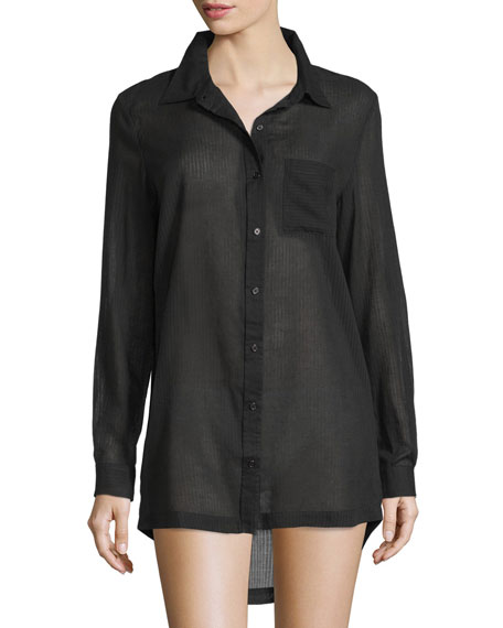 Richie Cotton Woven Sleepshirt, Black
