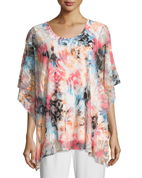 Caroline Rose Pink Sky Burnout Caftan-Style Top, Plus