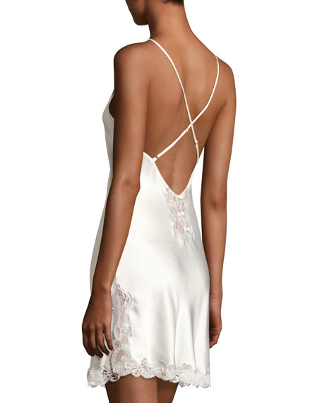 Lace-Trim Button-Back Short Chemise