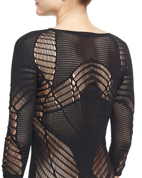 Netlace 3/4-Sleeve G-String Bodysuit, Black