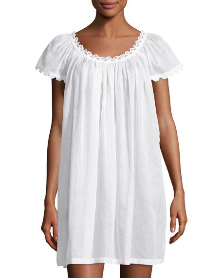 Celestine Jule Cap-Sleeve Short Nightgown, White
