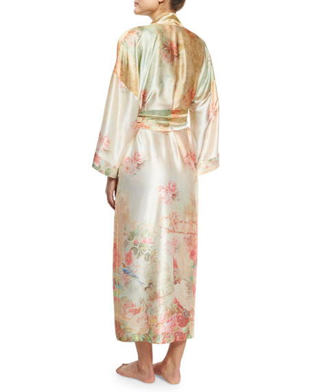 Wonderland Printed Long Silk Wrap Robe