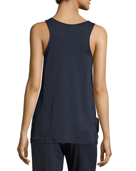 Voile-Trim Cotton Tank Top, Navy
