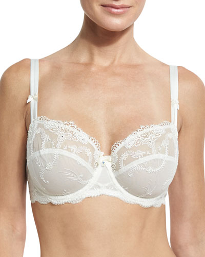 Orchid Bonheur Mesh-Lace Full-Cup Bra, White