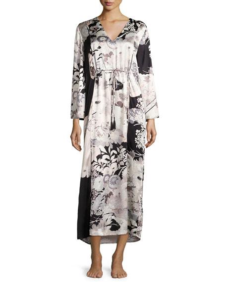 Josie Natori Yuzen Floral-Print Silk Caftan, Multi Pattern