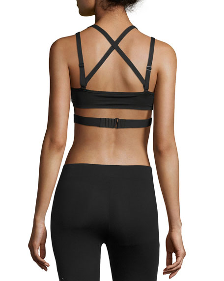 PWRSHAPE Future Strappy-Back Mid-Impact Sports Bra, Black
