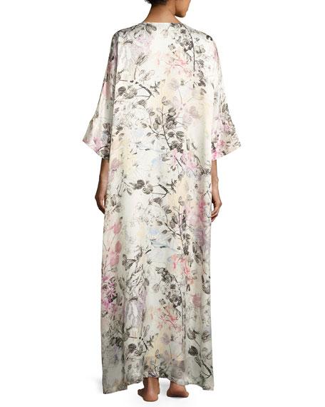 Juliet Floral-Print Silk Lounge Caftan