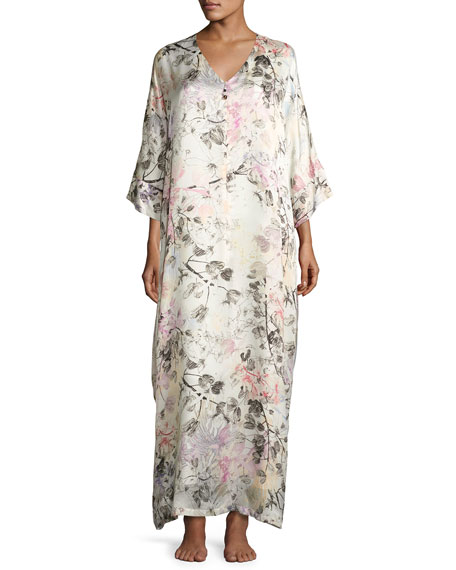Christine Designs Juliet Floral-Print Silk Lounge Caftan